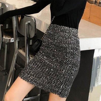 短裙 ins超火的一步半身裙女秋 新款高腰時尚顯瘦閃亮片包臀短裙子 魔方數碼館