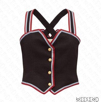 【WEEKEND】 GUCCI GG Web Striped 條紋 低胸 露背 上衣 背心 黑色 19秋冬