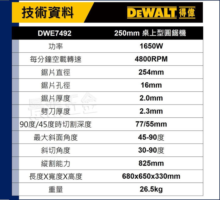 宜昌(景鴻) 公司貨 得偉 DEWALT 10吋 桌上型圓鋸機 平台圓鋸機 木工 DWE7492 含稅價