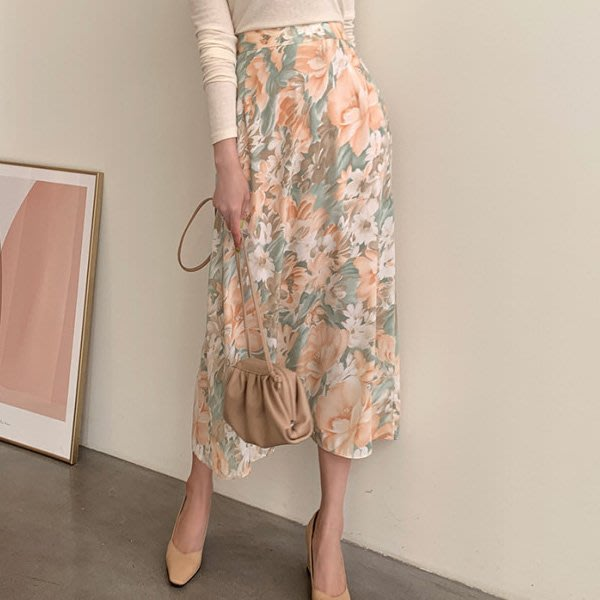 過膝裙踝上裙碎花裙 印花鬆緊高腰顯瘦飄逸長裙 艾爾莎 【TAE8312】