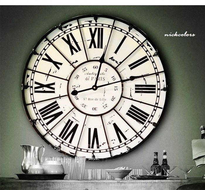 尼克卡樂斯~法式工業羅馬數字圓形大掛鐘 60cm 大型時鐘 靜音時鐘 復古工業風掛鐘 歐洲鄉村風時鐘 客廳時鐘 臥室時鐘