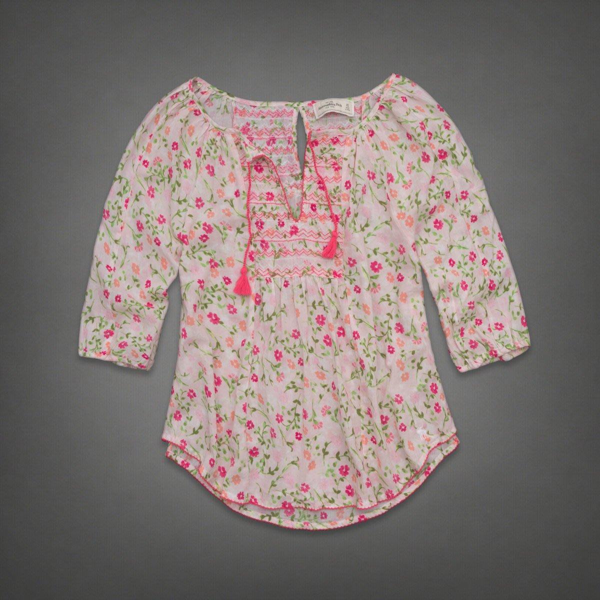 《Cupio》現貨 A&F Abercrombie & Fitch TAYLOR 甜美花卉民族風五分袖造型上衣(XS)