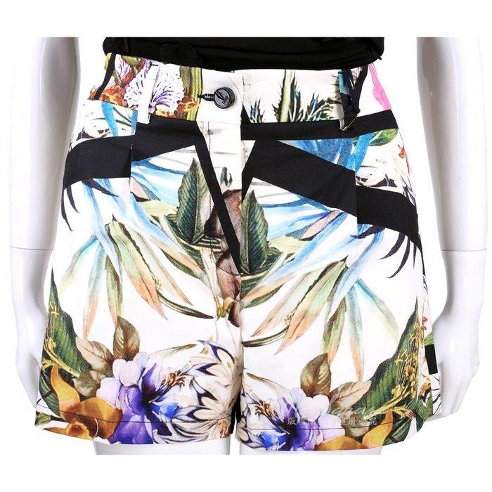 米蘭廣場 CLASS roberto cavalli 白色黑框印花短褲 1520578-52