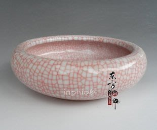 INPHIC-景德鎮陶瓷筆洗 文房四寶小魚缸 紅結晶釉 水淺 紅色筆洗