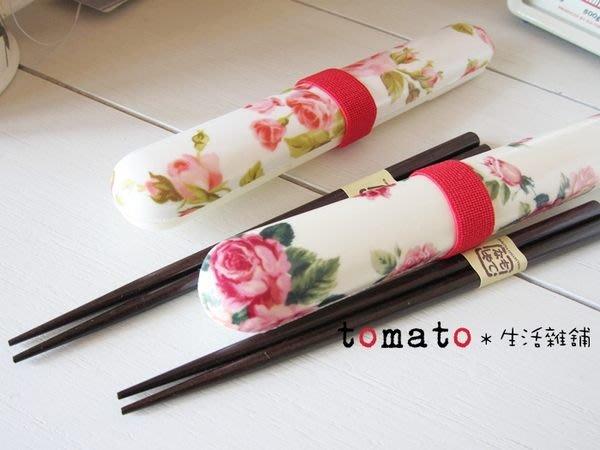 ˙TOMATO生活雜鋪˙日本進口雜貨日本製玫瑰花圖騰天然木環保筷收納盒筷組
