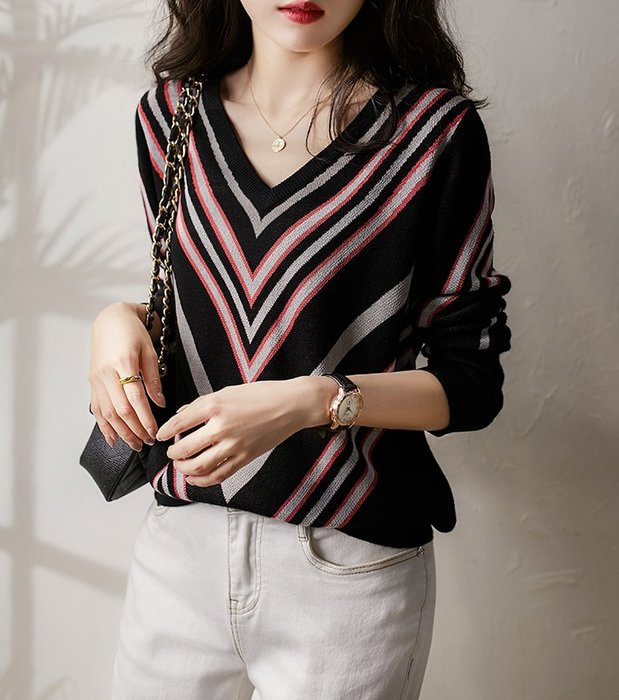 V領條紋針織衫 1143