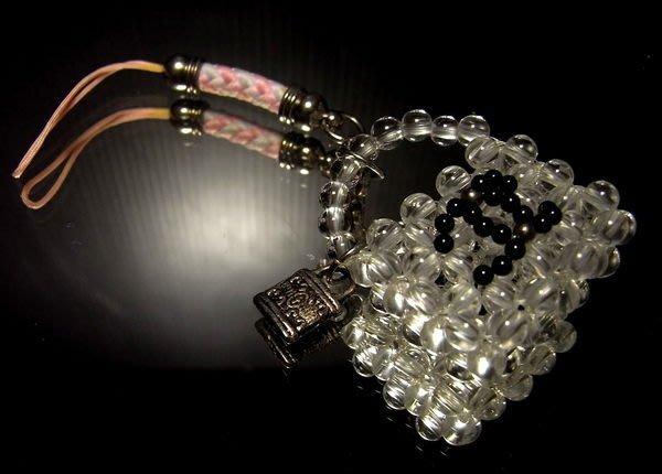 小風鈴~限量手創商品天然頂級清透白水晶+黑瑪瑙Q版名牌包造型手機吊飾!
