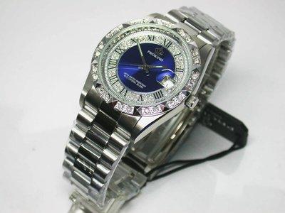不鏽鋼日期顯示.中藍羅馬數字面板.銀白色男錶