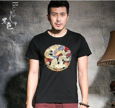 時尚服飾 新款中國風刺繡男短袖T恤衫 夏季原創繡花半袖純棉修身上衣