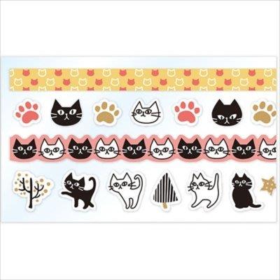 《散步生活雜貨-和紙膠帶》日本製 PINE BOOK-Assort Sheet 貓咪 紙膠帶組-兩款選擇