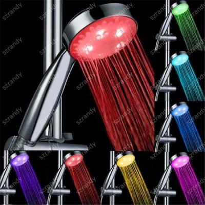 【蘑菇小隊】光療花灑 led花灑 七彩噴頭溫控手持花灑 熱水器浴室噴頭溫控三色節水-MG72775