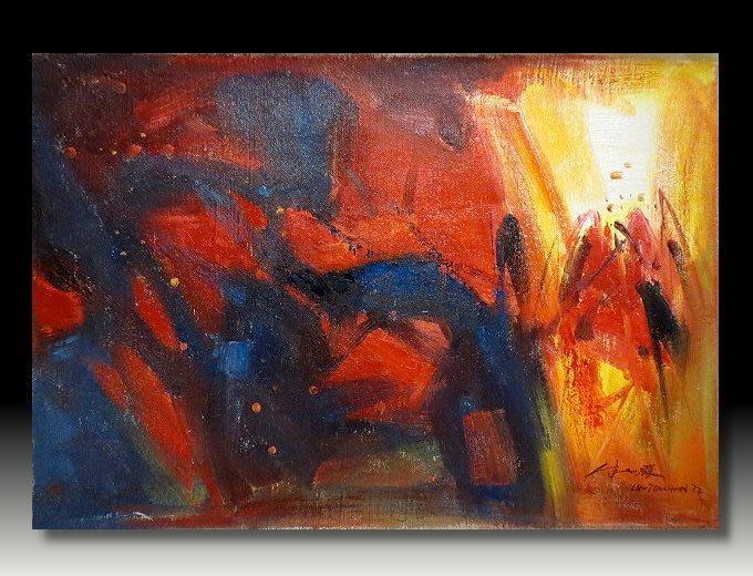 【 金王記拍寶網 】U994  朱德群 款 抽象 手繪原作 厚麻布油畫一張 罕見 稀少 藝術無價~