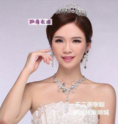 【格倫雅】^新娘飾品韓式獨特設計項鏈 耳環 皇冠頭飾結婚禮婚紗配飾件套 婚[g-l-y70