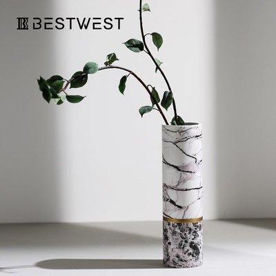 千禧禧居~設計師花瓶擺件陶瓷插花瓶樣板房軟裝飾品客廳落地大花瓶擺設輕奢
