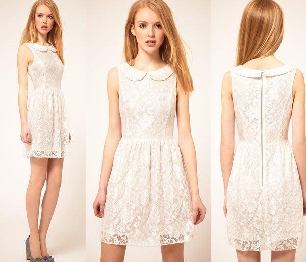 【ASOS WORLD】英國直送 現貨特價 優雅甜美女孩精緻蕾絲圓領傘狀白色典雅小洋裝婚禮   M號