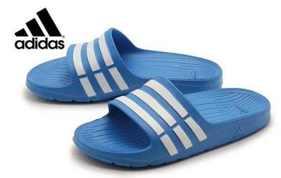 【鞋印良品】adidas 愛迪達 DURAMO K SLIDE D67479 水藍/白 基本款 防水 拖鞋 一體成型