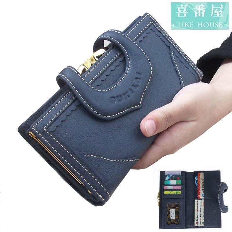 【喜番屋】真皮牛皮蕾絲按扣13卡位女士皮夾皮包錢夾零錢包長夾手拿包手包女夾【LH467】
