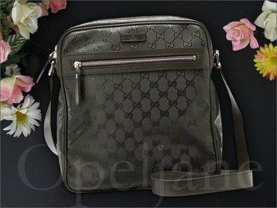 真品 GUCCI GG PLUS 墨綠色真皮邊防水斜背包航空包郵差包男女適用 免運費 愛Coach包包