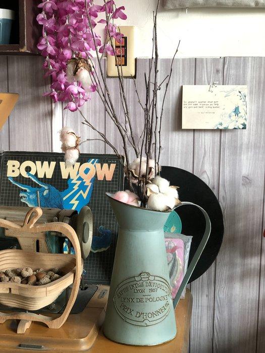 水藍 法式 浮雕 法式 花瓶 花器 單耳 仿真花 乾燥花 馬口鐵 鐵製 裝飾 佈置 藍色 批發 高桶 花桶 設計 花木馬