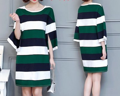 安琪兒╭╭韓系 撞色條紋連身裙 大尺碼洋裝【Y1420】XL~5XL另襯衫 洋裝T恤上衣 大碼水水