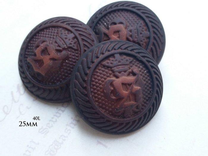 DAda緞帶‧I45139-25mm仿皮革老式歐洲圖騰古咖啡鈕扣飾釦1個$12