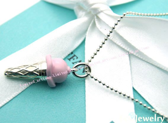 《Eco-jewelry》【Tiffany&Co】 稀有款 粉紅冰淇淋項鍊 純銀925項鍊 ~專櫃真品 已送洗