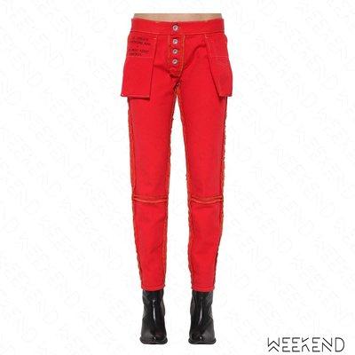 【WEEKEND】 UNRAVEL Boy Reverse 裡外反穿 口袋外露 牛仔褲 長褲 男友褲 紅色 18秋冬