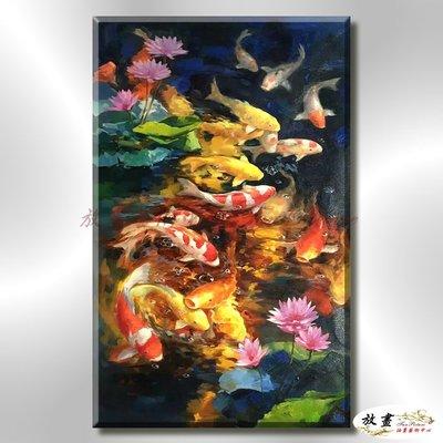 【放畫藝術】金皇九如229 純手繪 油畫 直幅 黃藍 中性色系 招財 求運 開運 事事如意 客廳掛畫 藝品 年年有餘