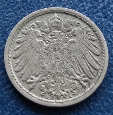 德國   1906年   5 芬尼    鎳幣    M011