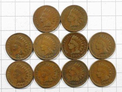 RR361 美國1900-1907年 紅番頭ONE CENT硬幣 共10枚壹標