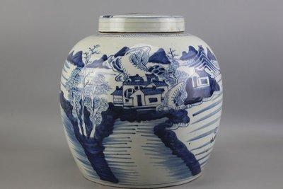 ㊣姥姥的寶藏㊣大清光緒山水人物紋大號茶葉罐 古玩 古董