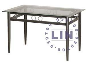【品特優家具倉儲】R037-05餐桌洽談桌如意玻璃桌烤黑腳