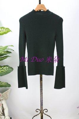 ❤米朵衣館❤ mia mia 全新2017秋冬 深綠色拼接袖針織上衣 S