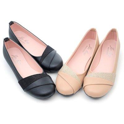 ❤含運❤  │鞋念 美人館MIT斜紋閃亮金蔥圓頭低跟鞋-棕色/黑色 36-40碼 (357-04)