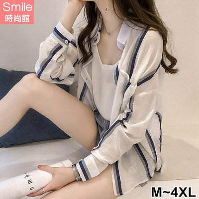 【V2987】SMILE-入秋微涼.撞色直條紋薄款單口袋長袖襯衫外套