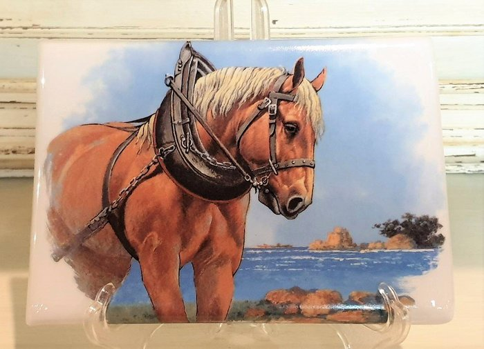 【卡卡頌 歐洲古董】🐴法國老件  LIMOGES  利摩日 思考的良駒  瓷版畫(老件未用)  p1799 ✬