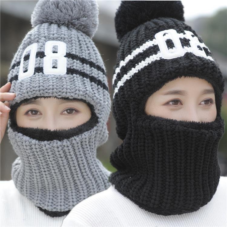冬季韓版帽子女毛線護耳加絨保暖針織帽女騎車防風帽套頭帽08女帽--古月醬子館
