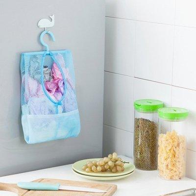超 熱賣 可掛式多用途收納網袋 曬衣夾子網袋 廚房浴室多用掛袋 3入組 收納袋