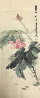 台灣藝術家 張松山---水墨畫作品 69.5x27.5cm