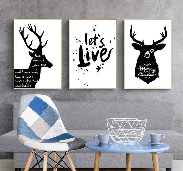 三幅一組油畫布  北歐麋鹿個性  畫芯/畫布/30X40☺暖暖屋☺傢居藝術館