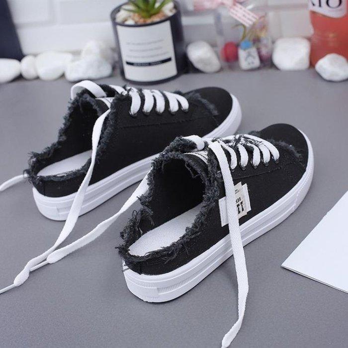 春夏帆布鞋女半拖鞋無後跟懶人一腳蹬韓版百搭無跟小白鞋OHLX22781