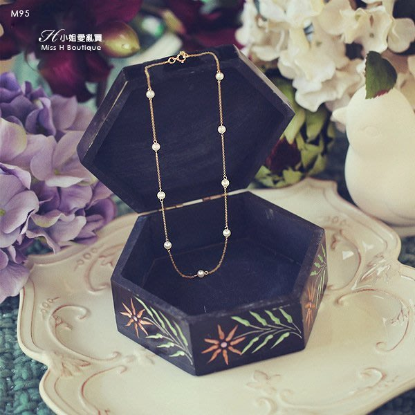 M95-美國手工輕珠寶-天然正圓強光9顆珍珠項鍊agete日本洋裝手環大衣耳環tasaki錶皮衣kiito