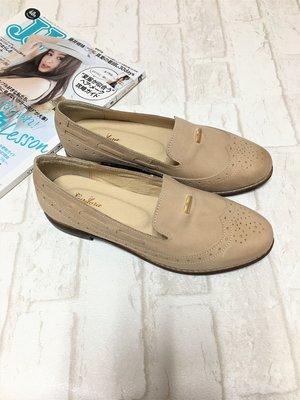 現貨出清~台灣手工製 全真羊皮休閒鞋–米色 70206-2   米蘭風情