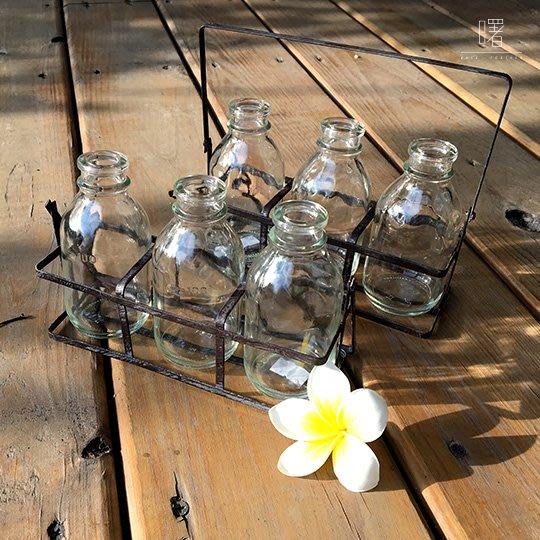 【曙muse】北歐風附架玻璃瓶三入組 牛奶瓶 插花瓶 簡約擺設 居家小物 loft 工業風 咖啡廳 民宿 餐廳 住家