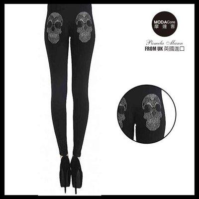 【摩達客】英國進口義大利製Pamela Mann  搖滾骷髏金屬感貼鑽黑色內搭褲 (打底褲/ 鉛筆褲) 台北市