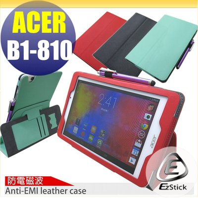 【EZstick】ACER Iconia One 8 B1-810 防電磁波皮套(背夾旋轉款式)+鏡面防汙螢幕貼