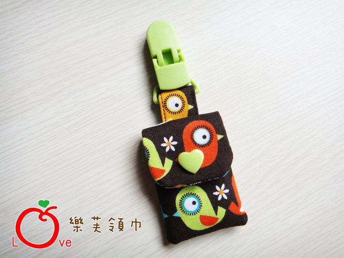*樂芙領巾* 深咖啡底花朵彩色小鳥款(美國布),嬰兒/兒童 平安符袋,可訂製大小