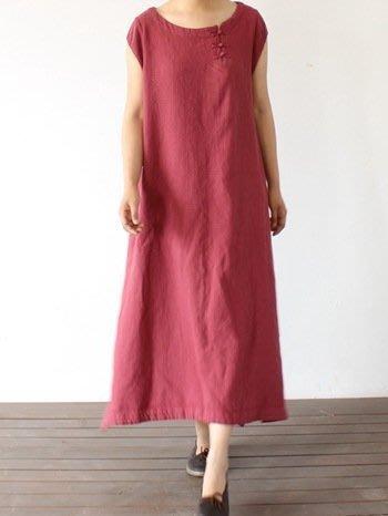 (老銀屋)原創設計圓領盤扣棉麻寬鬆連衣裙
