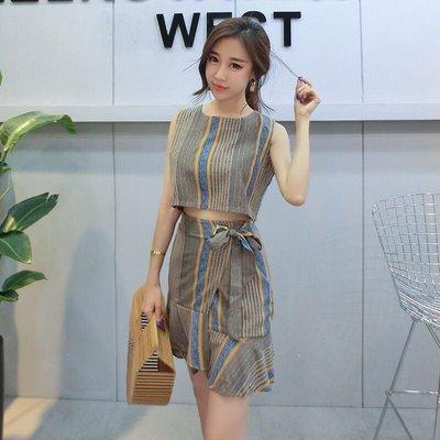 韓版氣質無袖條紋短版背心綁帶包臀短裙A...