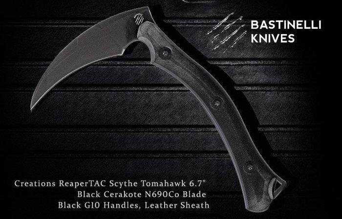 【angel 精品館 】BASTINELLI Creations ReaperTAC黑G10黑刃鐮刀 / 限量發售